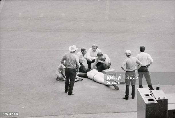 Houston TX Houston Astros pitcher JR Richard is sprawled out ont the Astrodome fllor on 7/30 after collapsing following a short workout to test his...