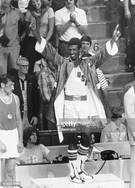 7/31/1976Montreal Quebec CanadaUSA's Leon Spinks waves to the crowd after he was awarded the gold medal for light heavyweight boxing
