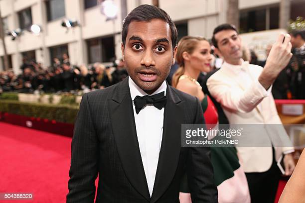 73rd ANNUAL GOLDEN GLOBE AWARDS Pictured Actor Aziz Ansari arrives to the 73rd Annual Golden Globe Awards held at the Beverly Hilton Hotel on January...
