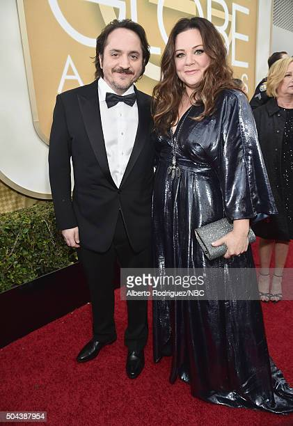 73rd ANNUAL GOLDEN GLOBE AWARDS Pictured Actor Ben Falcone and actress Melissa McCarthy arrive to the 73rd Annual Golden Globe Awards held at the...