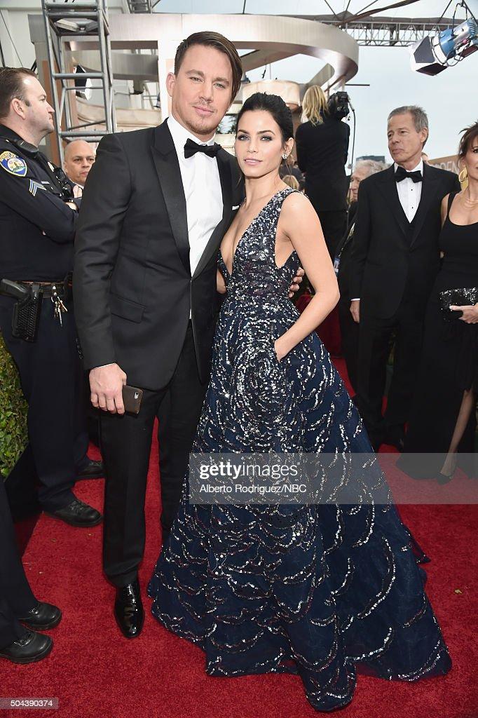 73rd ANNUAL GOLDEN GLOBE AWARDS Pictured Actor Channing Tatum and actress Jenna Dewan Tatum arrive to the 73rd Annual Golden Globe Awards held at the...