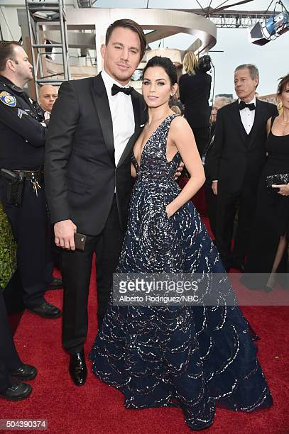 73rd ANNUAL GOLDEN GLOBE AWARDS Pictured Actor Channing Tatum and actress Jenna Dewan Tatum arrive to the 73rd Annual Golden Globe Awards held at the...