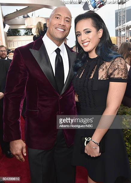 73rd ANNUAL GOLDEN GLOBE AWARDS Pictured Actor Dwayne 'The Rock' Johnson and Simone Alexandra Johnson arrive to the 73rd Annual Golden Globe Awards...