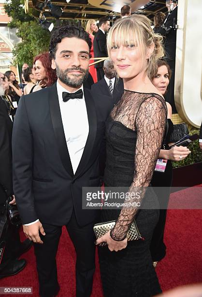 73rd ANNUAL GOLDEN GLOBE AWARDS Pictured Actor Oscar Isaac and Elvira Lind arrive to the 73rd Annual Golden Globe Awards held at the Beverly Hilton...