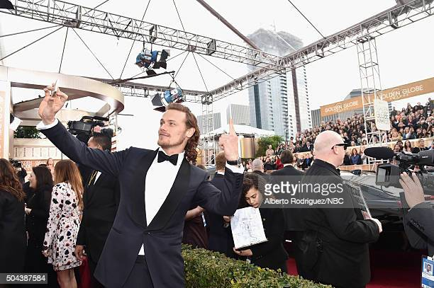73rd ANNUAL GOLDEN GLOBE AWARDS Pictured Actor Sam Heughan arrives to the 73rd Annual Golden Globe Awards held at the Beverly Hilton Hotel on January...