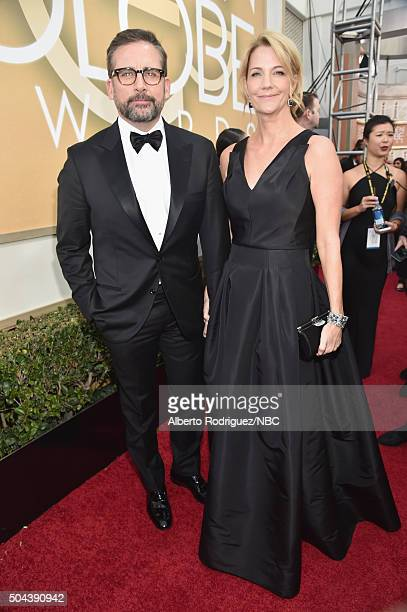 73rd ANNUAL GOLDEN GLOBE AWARDS Pictured Actor Steve Carell and actress Nancy Carell arrive to the 73rd Annual Golden Globe Awards held at the...