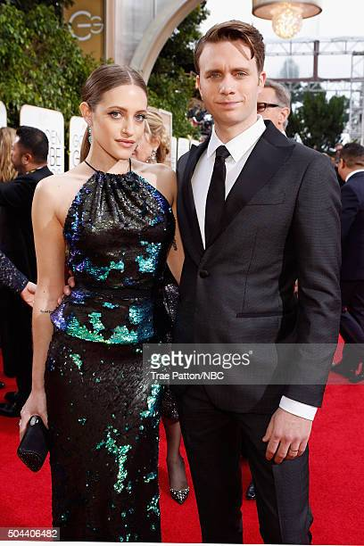 73rd ANNUAL GOLDEN GLOBE AWARDS Pictured Actors Carly Chaikin and Martin Wallstrom arrive to the 73rd Annual Golden Globe Awards held at the Beverly...