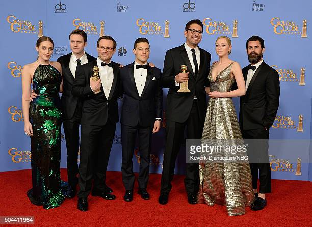 73rd ANNUAL GOLDEN GLOBE AWARDS Pictured Actors Carly Chaikin Martin Wallstrom Christian Slater Rami Malek writer/producer Sam Esmail actress Portia...