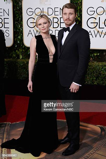 73rd ANNUAL GOLDEN GLOBE AWARDS Pictured Actors Kirsten Dunst and Garrett Hedlund arrive to the 73rd Annual Golden Globe Awards held at the Beverly...