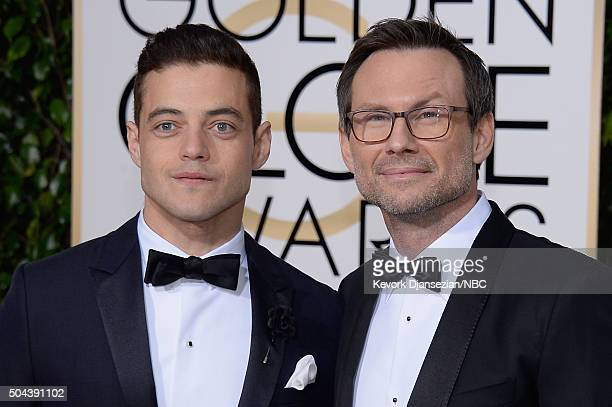 73rd ANNUAL GOLDEN GLOBE AWARDS Pictured Actors Rami Malek and Christian Slater arrive to the 73rd Annual Golden Globe Awards held at the Beverly...