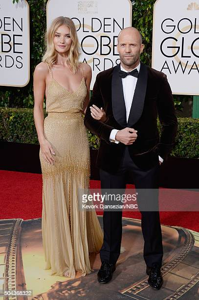 73rd ANNUAL GOLDEN GLOBE AWARDS Pictured Actors Rosie HuntingtonWhiteley and Jason Statham arrive to the 73rd Annual Golden Globe Awards held at the...
