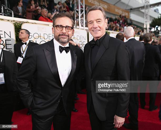 73rd ANNUAL GOLDEN GLOBE AWARDS Pictured Actors Steve Carell and Bryan Cranston arrive to the 73rd Annual Golden Globe Awards held at the Beverly...