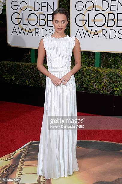 73rd ANNUAL GOLDEN GLOBE AWARDS Pictured Actress Alicia Vikander arrives to the 73rd Annual Golden Globe Awards held at the Beverly Hilton Hotel on...