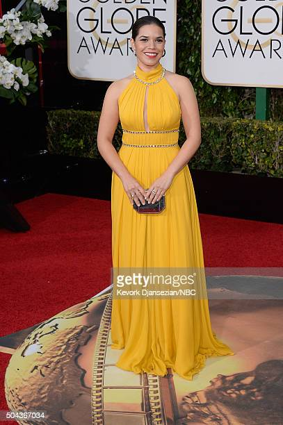 73rd ANNUAL GOLDEN GLOBE AWARDS Pictured Actress America Ferrera arrives to the 73rd Annual Golden Globe Awards held at the Beverly Hilton Hotel on...