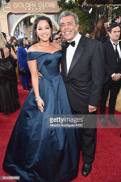 73rd ANNUAL GOLDEN GLOBE AWARDS Pictured Actress Gina Rodriguez and boxing referee Genaro Rodriguez arrive to the 73rd Annual Golden Globe Awards...