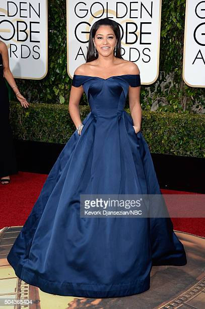 73rd ANNUAL GOLDEN GLOBE AWARDS Pictured Actress Gina Rodriguez arrives to the 73rd Annual Golden Globe Awards held at the Beverly Hilton Hotel on...