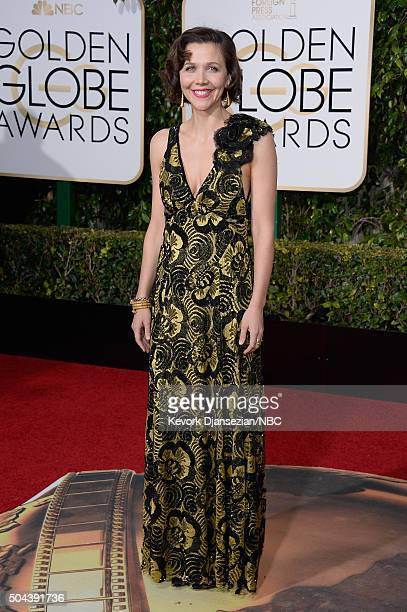 73rd ANNUAL GOLDEN GLOBE AWARDS Pictured Actress Maggie Gyllenhaal arrives to the 73rd Annual Golden Globe Awards held at the Beverly Hilton Hotel on...