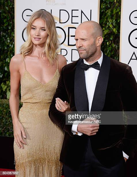 73rd ANNUAL GOLDEN GLOBE AWARDS Pictured Actress Rosie HuntingtonWhiteley and Jason Statham arrive to the 73rd Annual Golden Globe Awards held at the...