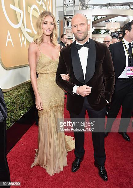73rd ANNUAL GOLDEN GLOBE AWARDS Pictured Actress/model Rosie HuntingtonWhiteley and actor Jason Statham arrive to the 73rd Annual Golden Globe Awards...