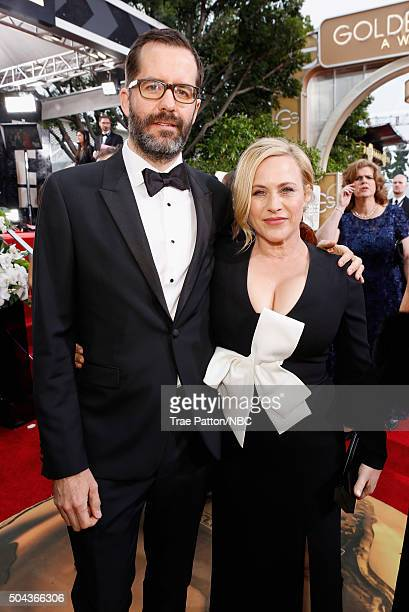 73rd ANNUAL GOLDEN GLOBE AWARDS Pictured Artist Eric White and actress Patricia Arquette arrive to the 73rd Annual Golden Globe Awards held at the...