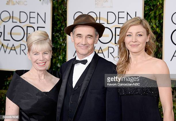 73rd ANNUAL GOLDEN GLOBE AWARDS Pictured Composer Claire van Kampen actors Mark Rylance and Juliet Rylance arrive to the 73rd Annual Golden Globe...