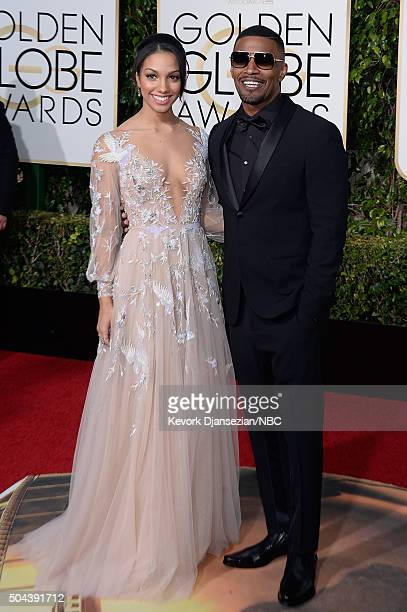 73rd ANNUAL GOLDEN GLOBE AWARDS Pictured Corinne Foxx and actor Jamie Foxx arrive to the 73rd Annual Golden Globe Awards held at the Beverly Hilton...