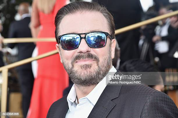 73rd ANNUAL GOLDEN GLOBE AWARDS Pictured Host Ricky Gervais arrives to the 73rd Annual Golden Globe Awards held at the Beverly Hilton Hotel on...