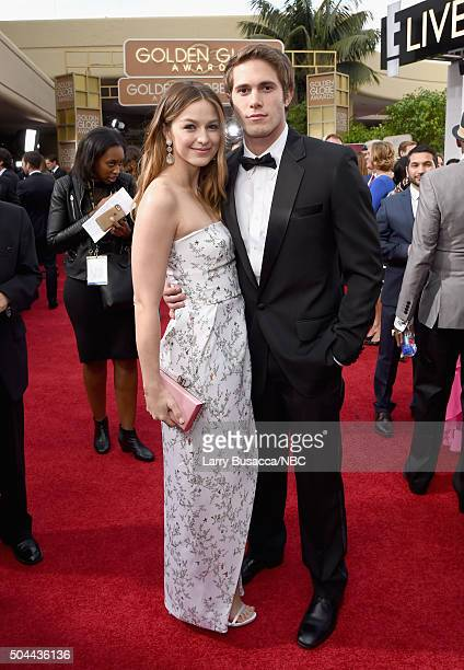 73rd ANNUAL GOLDEN GLOBE AWARDS Pictured Melissa Benoist and Blake Jenner arrive to the 73rd Annual Golden Globe Awards held at the Beverly Hilton...