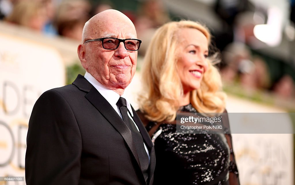 73rd ANNUAL GOLDEN GLOBE AWARDS -- Pictured: (l-r) News Crop. CEO <a gi-track='captionPersonalityLinkClicked' href=/galleries/search?phrase=Rupert+Murdoch&family=editorial&specificpeople=160571 ng-click='$event.stopPropagation()'>Rupert Murdoch</a> and model <a gi-track='captionPersonalityLinkClicked' href=/galleries/search?phrase=Jerry+Hall&family=editorial&specificpeople=171120 ng-click='$event.stopPropagation()'>Jerry Hall</a> arrive to the 73rd Annual Golden Globe Awards held at the Beverly Hilton Hotel on January 10, 2016.