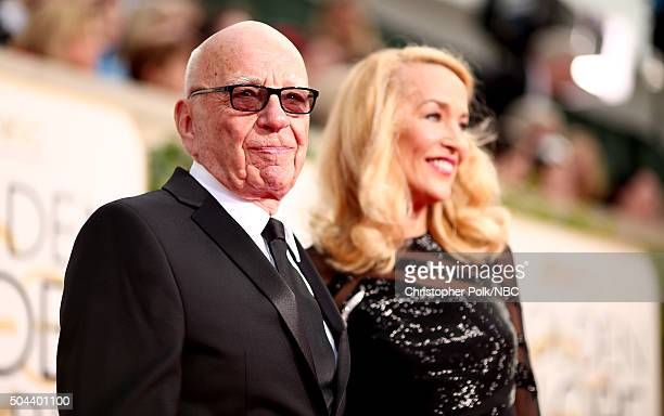 73rd ANNUAL GOLDEN GLOBE AWARDS Pictured News Crop CEO Rupert Murdoch and model Jerry Hall arrive to the 73rd Annual Golden Globe Awards held at the...