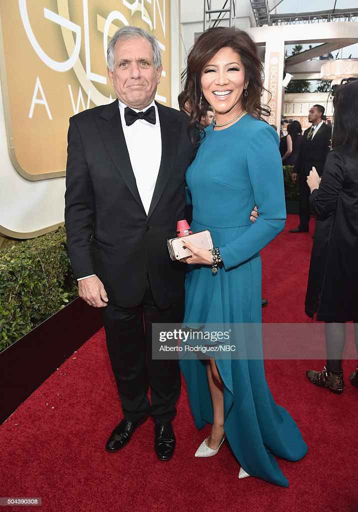 73rd ANNUAL GOLDEN GLOBE AWARDS Pictured President and Chief Executive Officer CBS Corporation Leslie Moonves and TV personality Julie Chen arrive to...