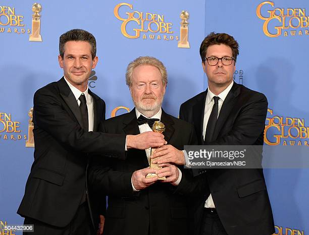 73rd ANNUAL GOLDEN GLOBE AWARDS Pictured Producer Simon Kinberg director/producer Ridley Scott and producer Michael Schaefer winner of the award for...