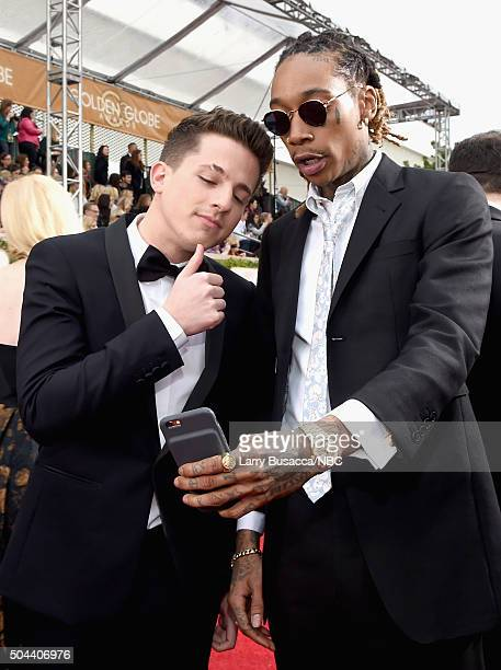 73rd ANNUAL GOLDEN GLOBE AWARDS Pictured Recording artists Charlie Puth and Wiz Khalifa arrive to the 73rd Annual Golden Globe Awards held at the...