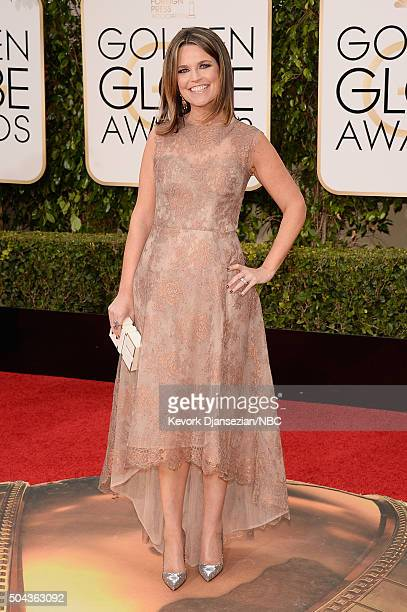 73rd ANNUAL GOLDEN GLOBE AWARDS Pictured TV personality Savannah Guthrie arrives to the 73rd Annual Golden Globe Awards held at the Beverly Hilton...