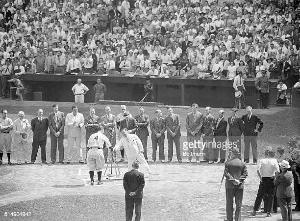 Mayor F H LaGuardia greeting Lou Gehrig on the occasion of 'Lou Gehrig Day' at Yankee Stadium during a ceremony honoring the nonplaying captain of...