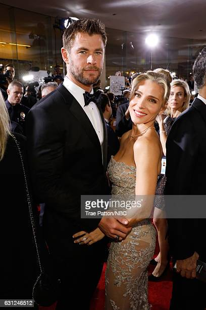 74th ANNUAL GOLDEN GLOBE AWARDS Pictured Actor Chris Hemsworth and model Elsa Pataky arrive to the 74th Annual Golden Globe Awards held at the...