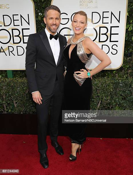 74th ANNUAL GOLDEN GLOBE AWARDS Pictured Actor Ryan Reynolds and actress Blake Lively arrive to the 74th Annual Golden Globe Awards held at the...