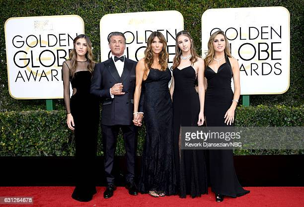 74th ANNUAL GOLDEN GLOBE AWARDS Pictured Actor Sylvester Stallone model Jennifer Flavin and 2017 Miss Golden Globe Sistine Stallon Scarlet Stallone...