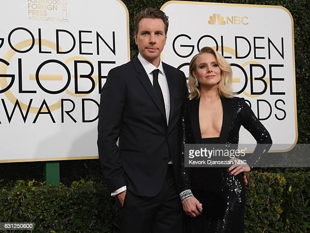 74th ANNUAL GOLDEN GLOBE AWARDS Pictured Actors Dax Shepard and Kristen Bell arrive to the 74th Annual Golden Globe Awards held at the Beverly Hilton...