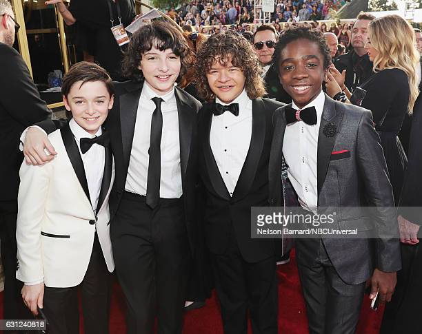 74th ANNUAL GOLDEN GLOBE AWARDS Pictured Actors Noah Schnapp Finn Wolfhard Gaten Matarazzo and Caleb McLaughlin arrive to the 74th Annual Golden...