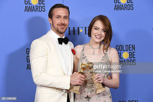74th ANNUAL GOLDEN GLOBE AWARDS Pictured Actors Ryan Gosling and Emma Stone winners of the Best Performance by an Actor/Actress in a Motion Picture —...