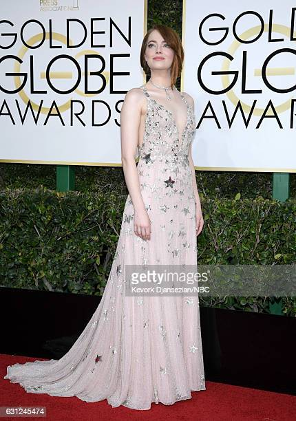 74th ANNUAL GOLDEN GLOBE AWARDS Pictured Actress Emma Stone arrives to the 74th Annual Golden Globe Awards held at the Beverly Hilton Hotel on...