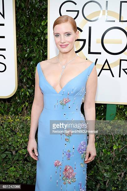74th ANNUAL GOLDEN GLOBE AWARDS Pictured Actress Jessica Chastain arrives to the 74th Annual Golden Globe Awards held at the Beverly Hilton Hotel on...
