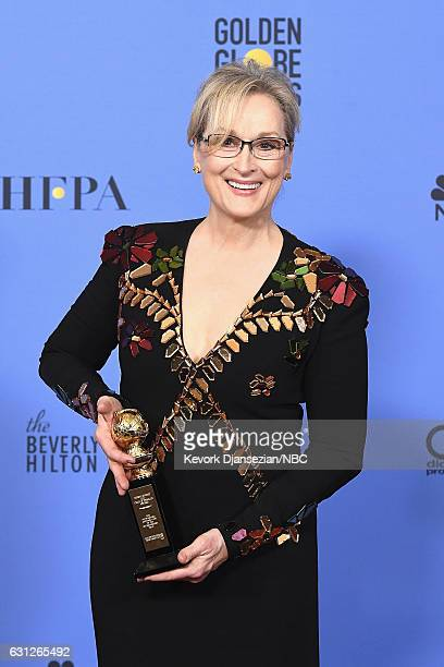 74th ANNUAL GOLDEN GLOBE AWARDS Pictured Actress Meryl Streep winner of the Cecil B DeMille Award poses in the press room at the 74th Annual Golden...