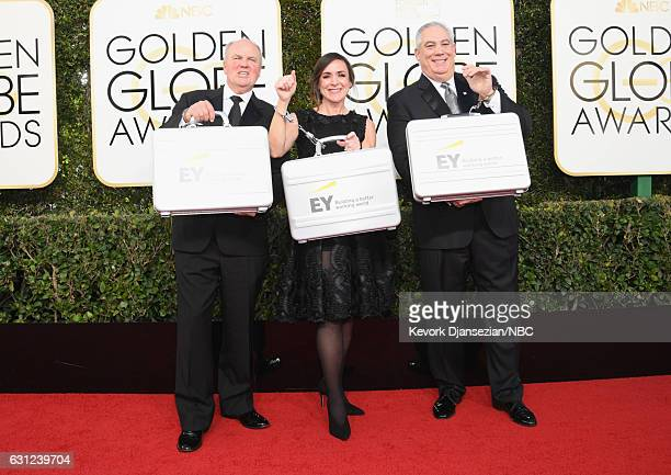 74th ANNUAL GOLDEN GLOBE AWARDS Pictured Ernst Young representatives arrive to the 74th Annual Golden Globe Awards held at the Beverly Hilton Hotel...