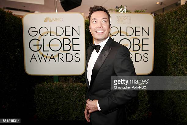 74th ANNUAL GOLDEN GLOBE AWARDS Pictured Host Jimmy Fallon arrives to the 74th Annual Golden Globe Awards held at the Beverly Hilton Hotel on January...