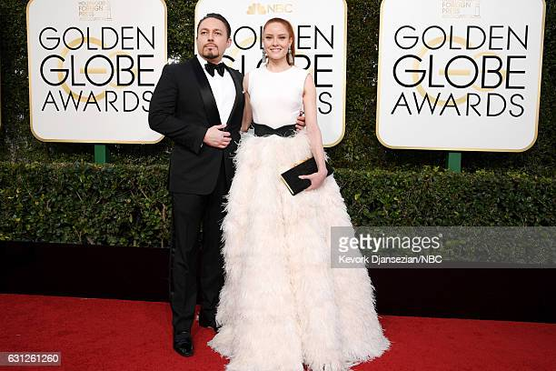 74th ANNUAL GOLDEN GLOBE AWARDS Pictured Klemens Hallmann and actress Barbara Meier arrive to the 74th Annual Golden Globe Awards held at the Beverly...