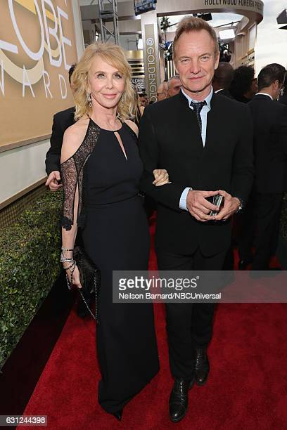 74th ANNUAL GOLDEN GLOBE AWARDS Pictured Producer/actress Trudie Styler and recording artist Sting arrive to the 74th Annual Golden Globe Awards held...