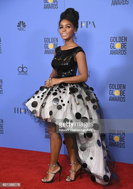 74th ANNUAL GOLDEN GLOBE AWARDS Pictured Singer/actress Janelle Monáe poses in the press room at the 74th Annual Golden Globe Awards held at the...