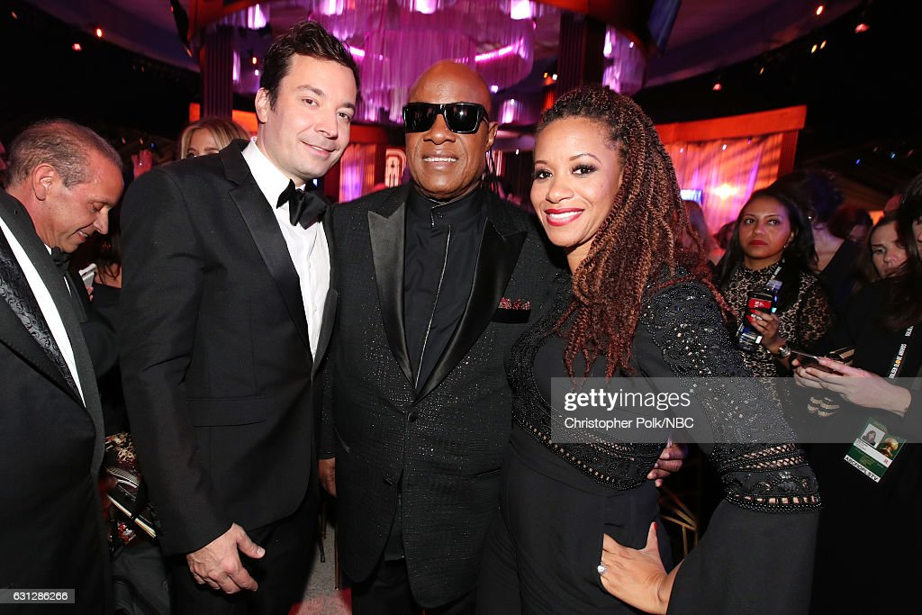74th ANNUAL GOLDEN GLOBE AWARDS -- Pictured: (l-r) Telecast host Jimmy Fallon, musican Stevie Wonder and Tomeeka Robyn Bracy pose during the Universal, NBC, Focus Features, E! Entertainment Golden Globes After Party Sponsored by Chrysler held at the Beverly Hilton Hotel on January 8, 2017.